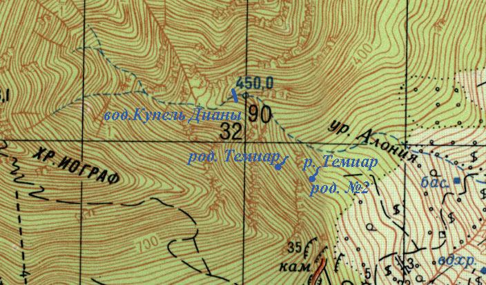 Фрагмен карты окрестностей родника Темиар